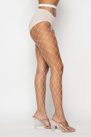 Image of White Large Rhinestone Fishnets