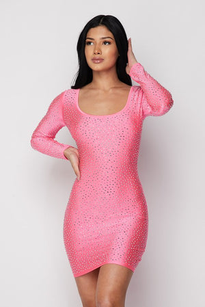 Rhinestone Cocktail Dress - Fuchsia