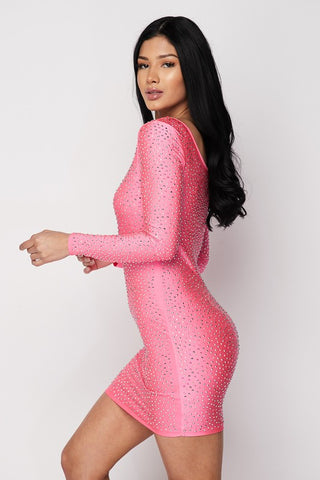 Image of Rhinestone Cocktail Dress - Fuchsia