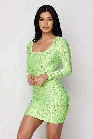 Rhinestone Cocktail Dress - Lime
