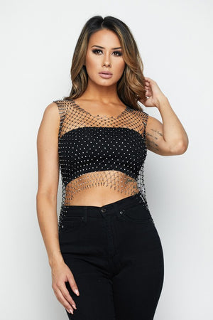 Rhinestone Mesh Cover-Up Top