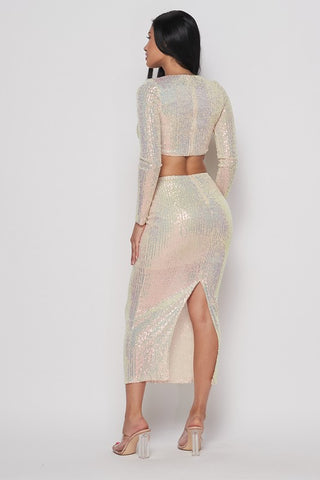 Image of White 2-Piece Sequin Skirt Set