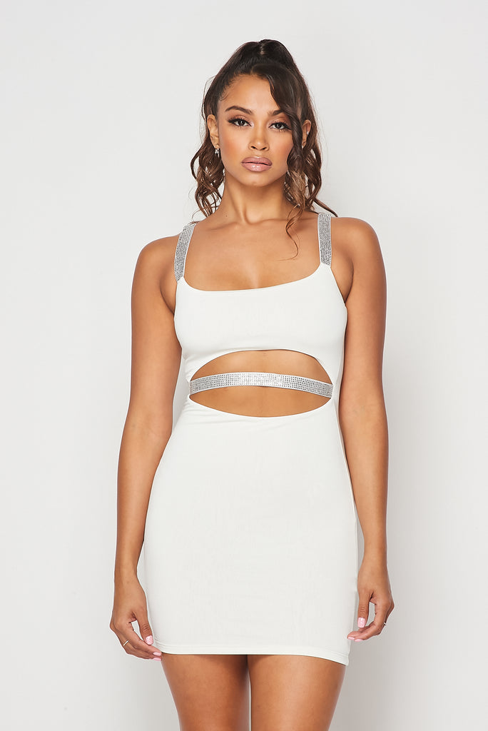 Bria Rhinestone Strap Dress - White
