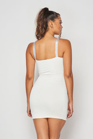 White Rhinestone Strap Dress