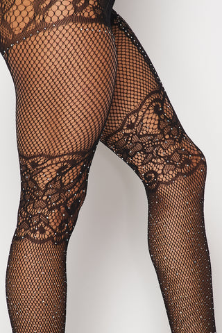 Image of Black Rhinestone Lace Tights