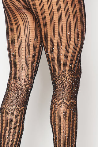 Black Rhinestone Lined Tights