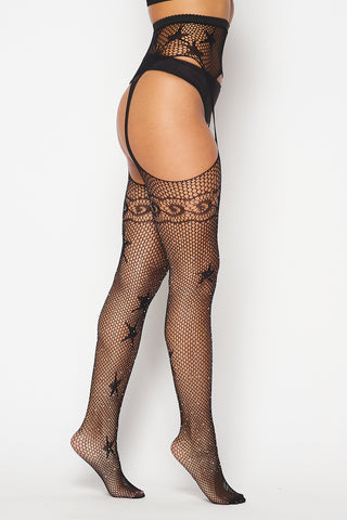 Image of Black Rhinestone Star Tights
