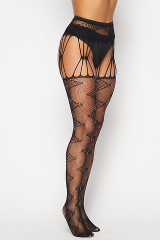 Image of Black Rhinestone Zigzag Tights