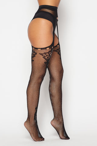 Image of Black Rhinestone Lace Diamond Tights