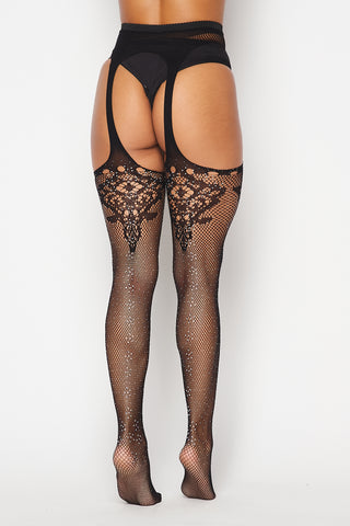Black Rhinestone Lace Diamond Tights