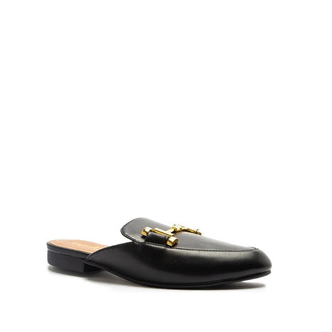 Clara Gold Buckle Mules - Black