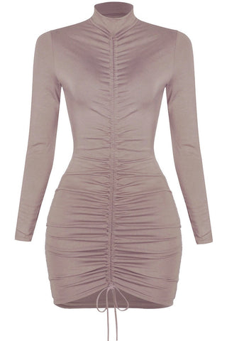 Image of Eva Mini Dress - Taupe