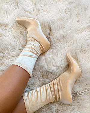 Nude Satin Booties