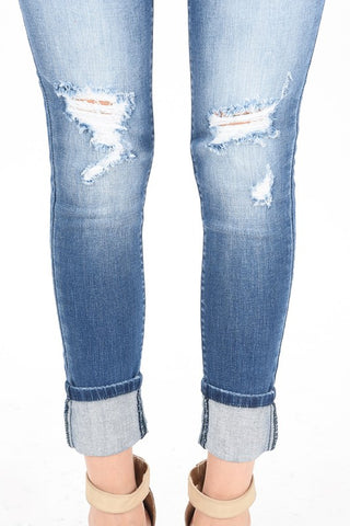 Image of Ankle Skinny Cuffed Denim