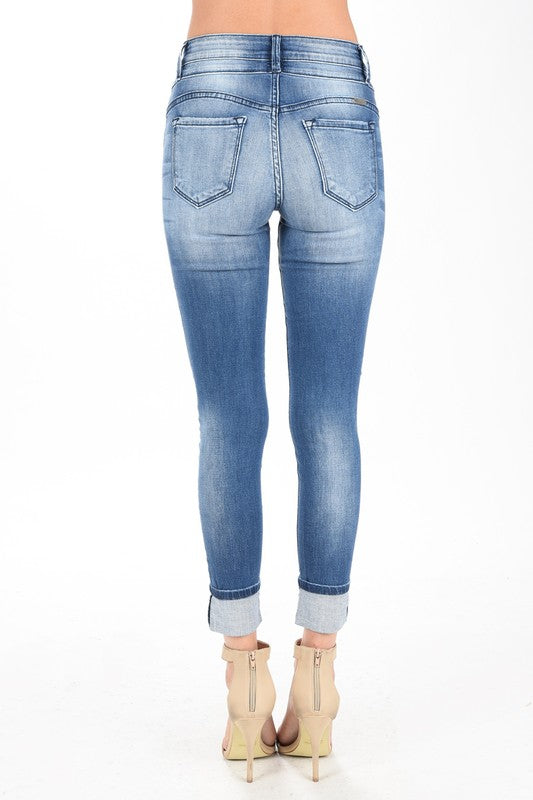 Ankle Skinny Cuffed Denim