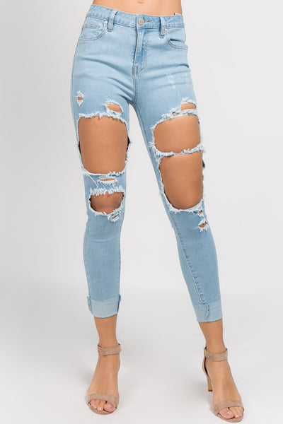 High Rise Destroyed Jeans (Light Wash)