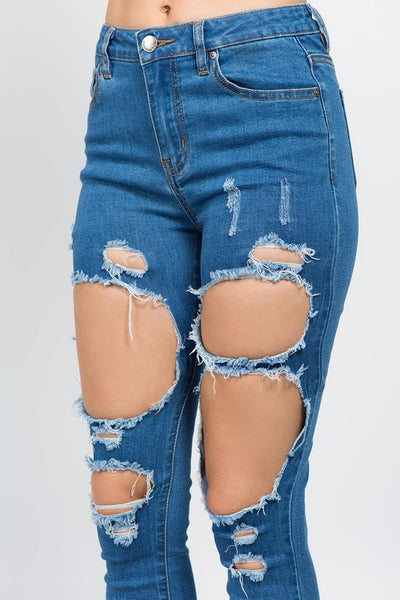 High Rise Destroyed Jeans (Dark Wash)