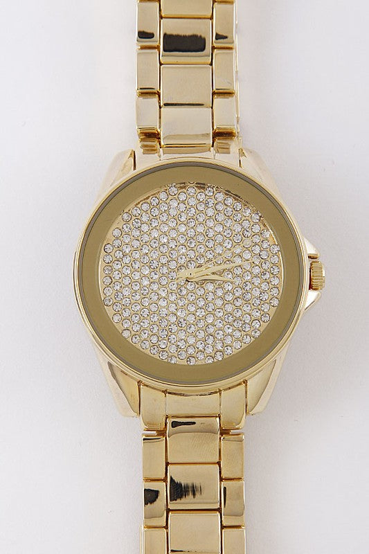 Rhinestone Gold Watch