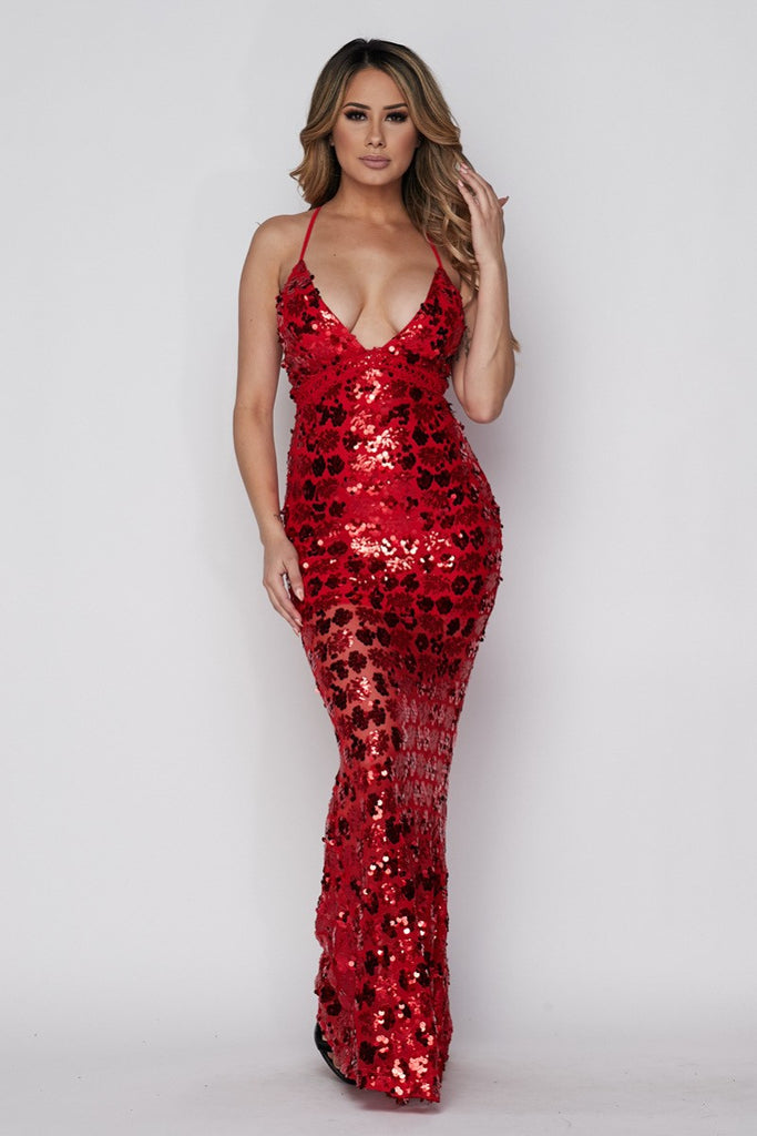 Isabella Sequin Maxi Dress - Red