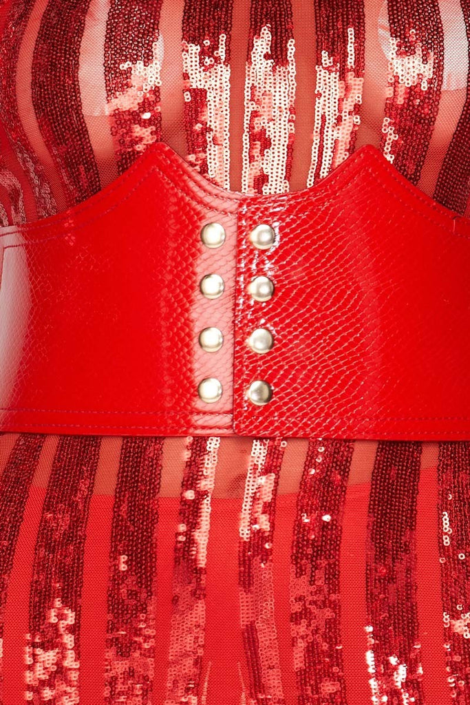Yarelli Sequin Belted Mini Dress - Red