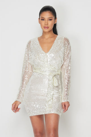 Pearl Sequin Mini Dress