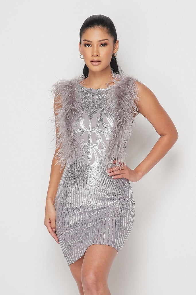 Legacy Sequin Feather Mini Dress - Grey