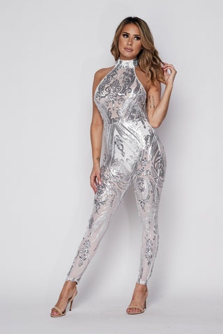 Image of Silver Sequin Jumpsuit