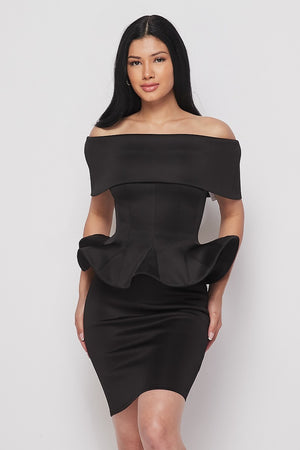 2-Piece Black Flare Skirt Set