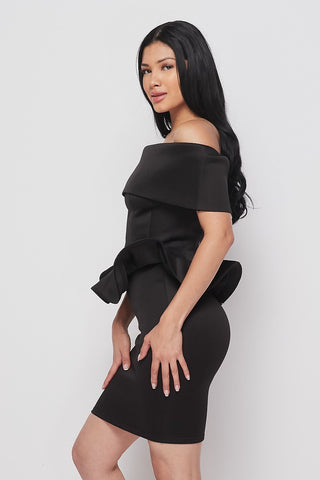 Image of 2-Piece Black Flare Skirt Set