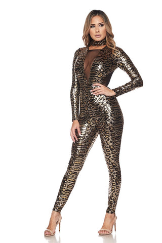 Image of Leopard Bronze Jumpsuit