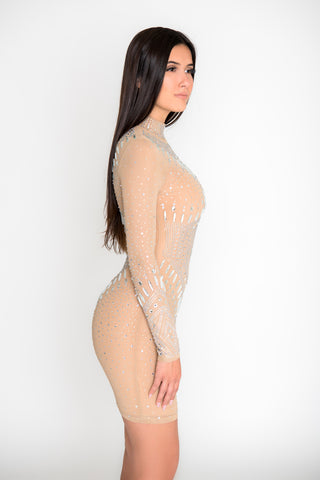 Image of Juliana Crystal Dress - Nude