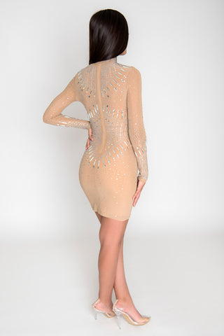 Juliana Crystal Dress - Nude