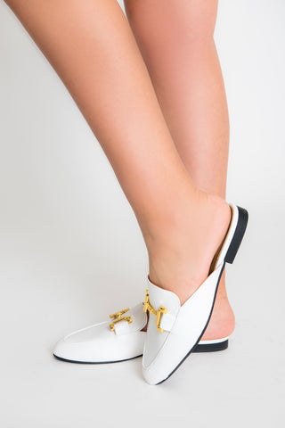 Image of Clara Gold Buckle Mule - White