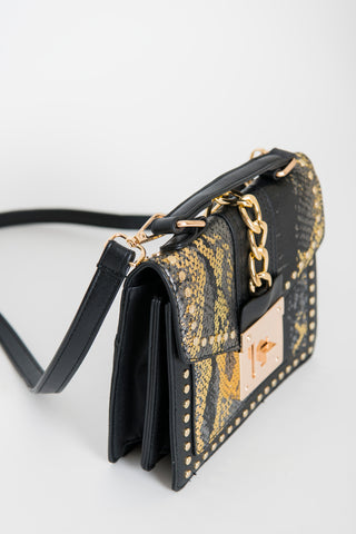 Image of Snakeskin Crossbody Bag - Black