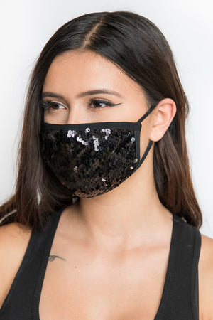 Sequin Face Mask - Black