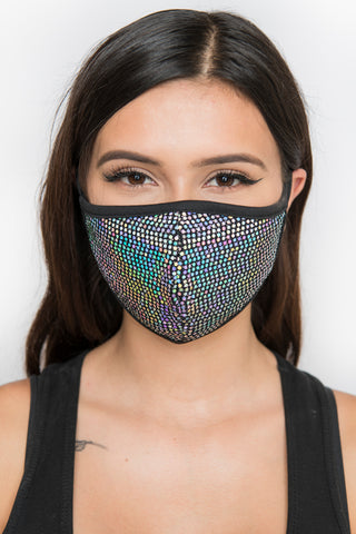 Sequin Face Mask - Black Iridescent
