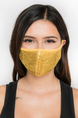 Image of Sequin Face Mask - Mustard