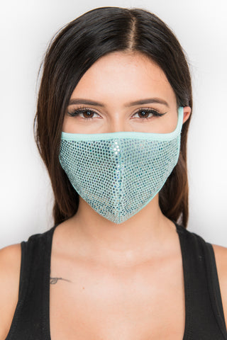 Image of Sequin Face Mask - Teal