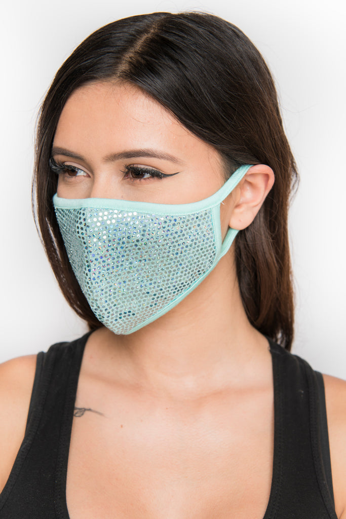 Sequin Face Mask - Teal