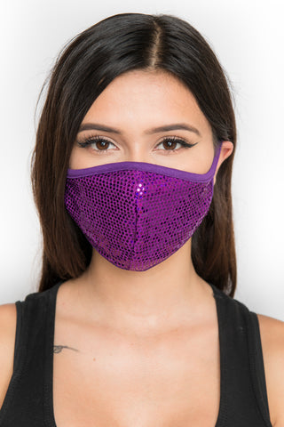 Sequin Face Mask - Purple