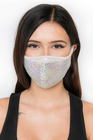 Image of Sequin Face Mask - Nude