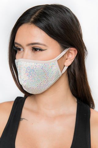 Sequin Face Mask - Nude