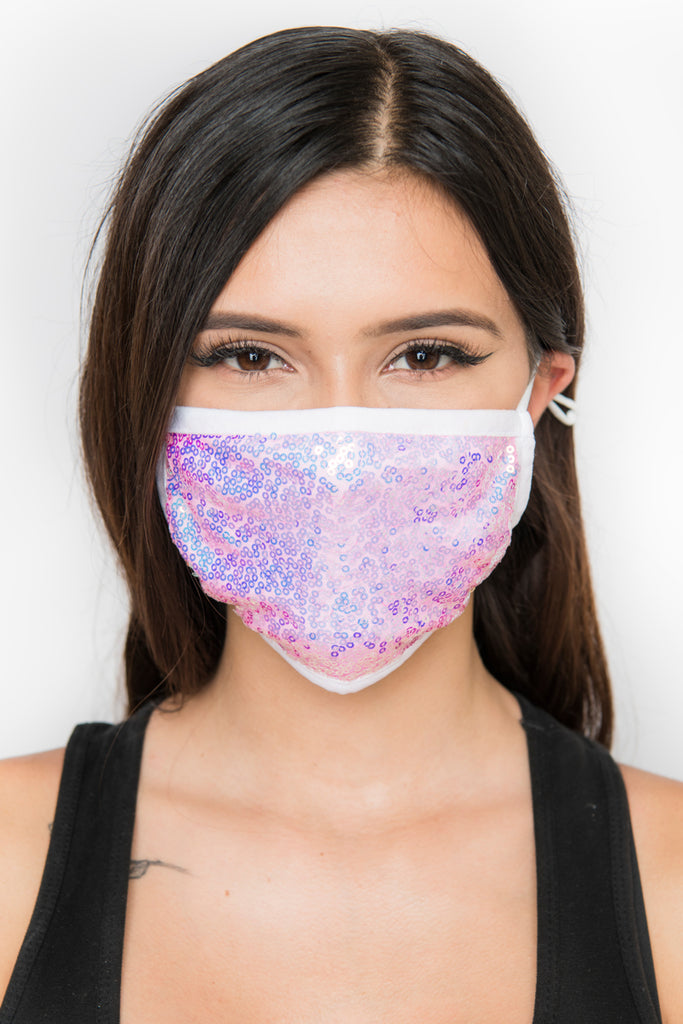 Sequin Face Mask - Pink