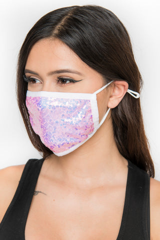 Image of Sequin Face Mask - Pink