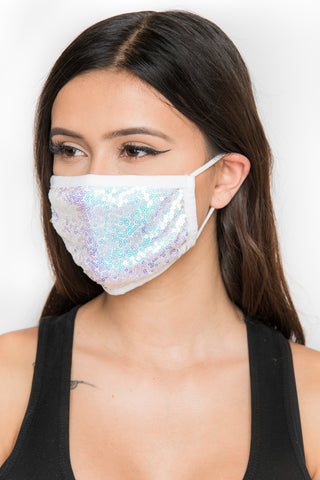 Image of Sequin Face Mask - White