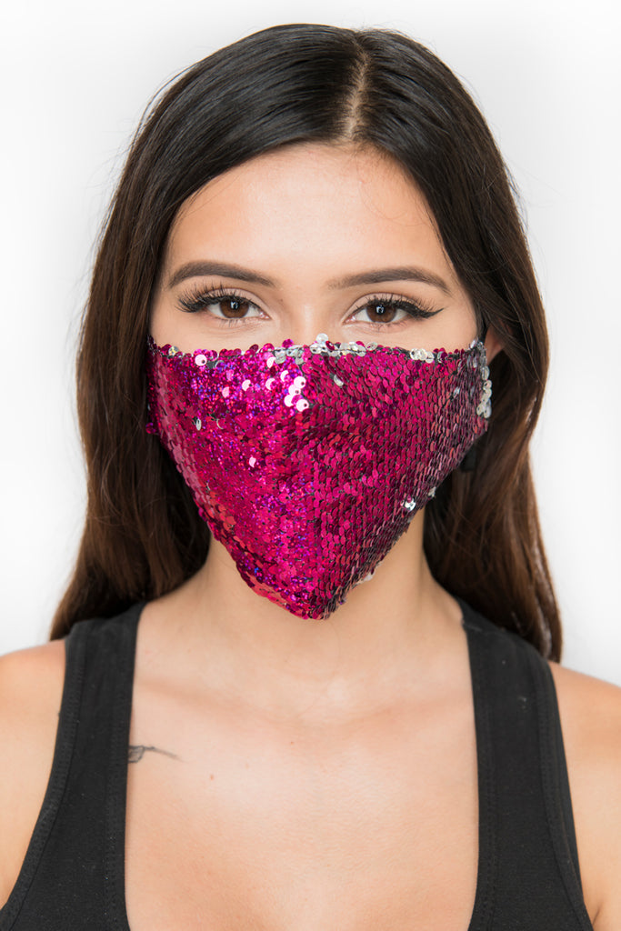 Reversible Sequin Face Mask - Pink/Silver