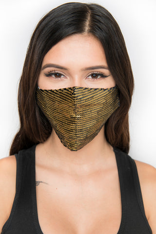 Image of Sequin Face Mask - Gold