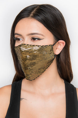 Sequin Face Mask - Gold