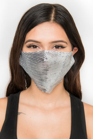 Image of Sequin Face Mask - Silver