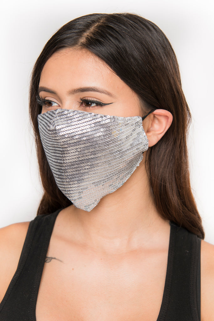 Sequin Face Mask - Silver